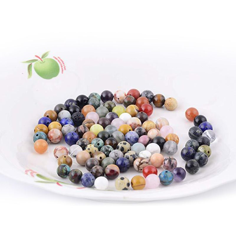 8mm Natural Stone Round Beads Mixed Color Box Set Loose Beads for DIY Jewelry 87HC
