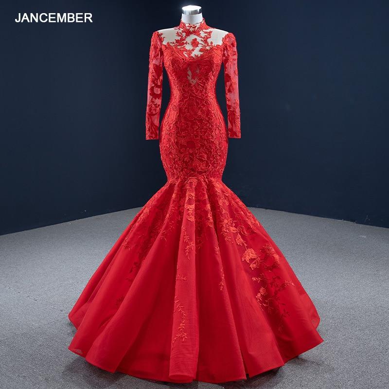 J67174 فستان سهرة أحمر على شكل حورية البحر ، ياقة عالية ، أكمام طويلة ، تنورة مزينة ، فستان سهرة نسائي ، 2021