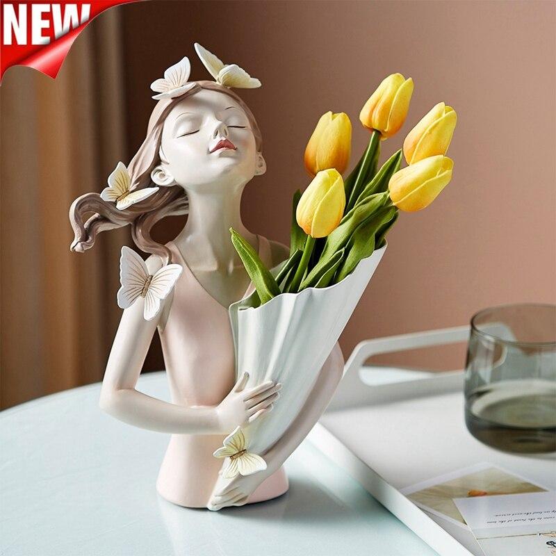Sala de Estar Borboleta Menina Resina Escultura Personagem Modelo Vaso Moderno Casa Decoração Quarto Bancada Presente Nórdico