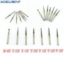 50 pièces fraises diamantées dentaires grain jaune/Extra fin ajustement haute vitesse pièce à main 1.6mm BR-40EF/TC-11EF/TF-12EF/TF-13EF outils de dentisterie