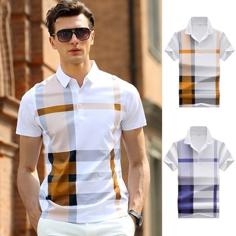 Summer Men Polo Shirt Short Sleeve Cotton Polo Shirts Male Lapel Button Patchwork Business Casual Polo Shirts  plaid shirt