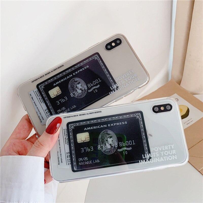 Трендовый фирменный Американский Экспресс Кредитная карта прозрачный sfot чехол для телефона для iphone X XR XS 11 Pro Max 6s 7 8 plus классный чехол