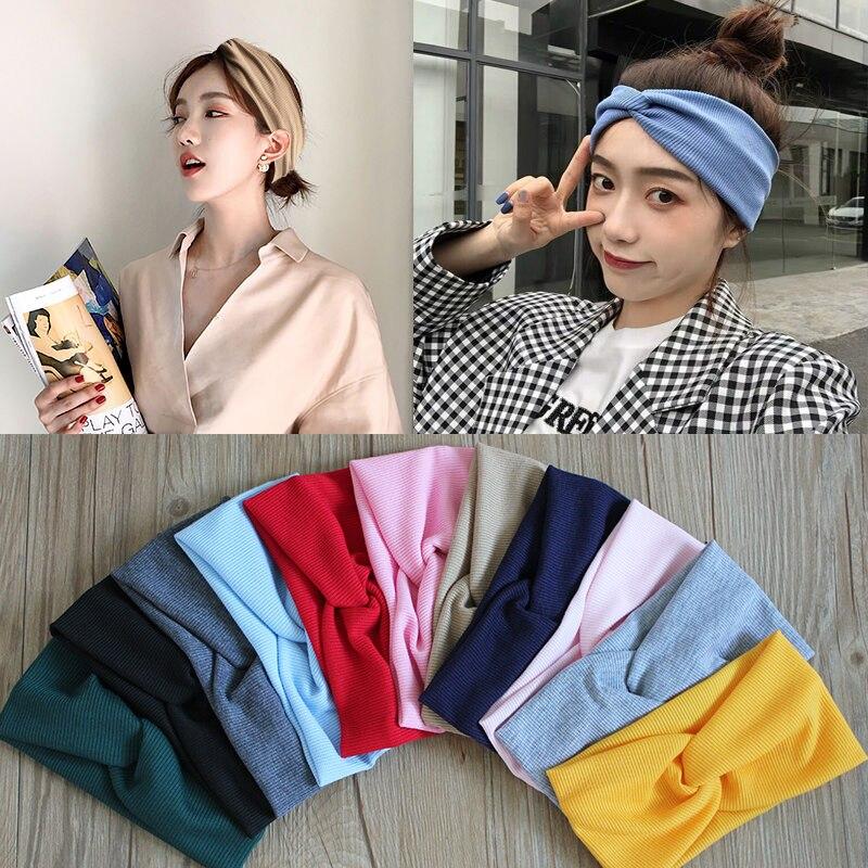 12 pieces Women Headband Cross Top Knot Elastic Hair Bands korean Girls Hairband Hair Accessories Tw
