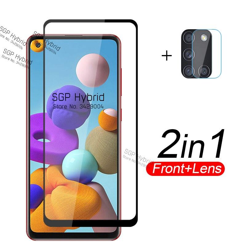 2 en 1 vidrio templado para Samsung Galaxy A21S A01 A11 A31 A41 A51 A71 A 21S lente de cámara Samsung SamsungA21S Protector de pantalla Flim