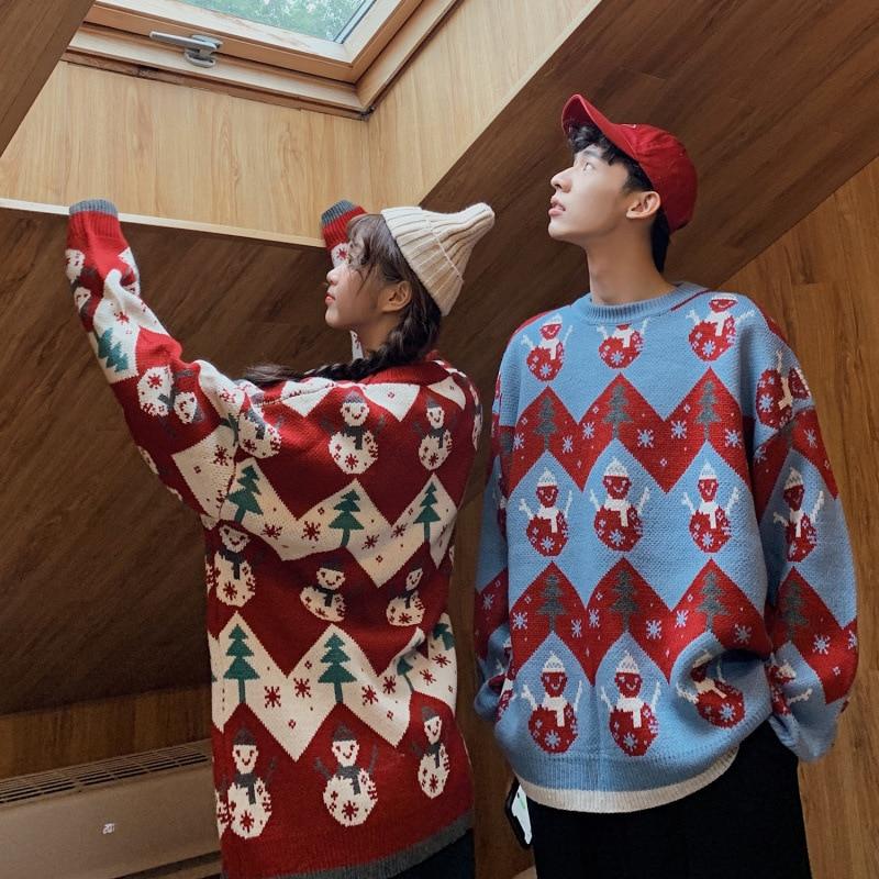 عيد الميلاد سترة الرجال عادية س الرقبة عطلة عيد الميلاد سترة مضحك لاعبا زوجين البلوز ملابس فضفاضة للجنسين البلوفرات