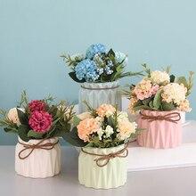 Künstliche Dekoration Ewige Rose Silk Pfingstrosen Bouquet Herbst Dekoration Künstliche Blumen Für Hochzeit Zubehör Room Decor