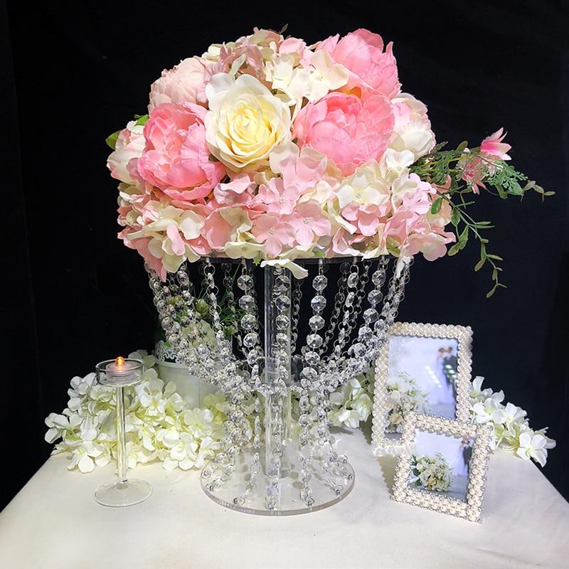 Mesa romántica soporte de pastel de acrílico de lujo florero centros de mesa de boda para decoración de fiesta en casa