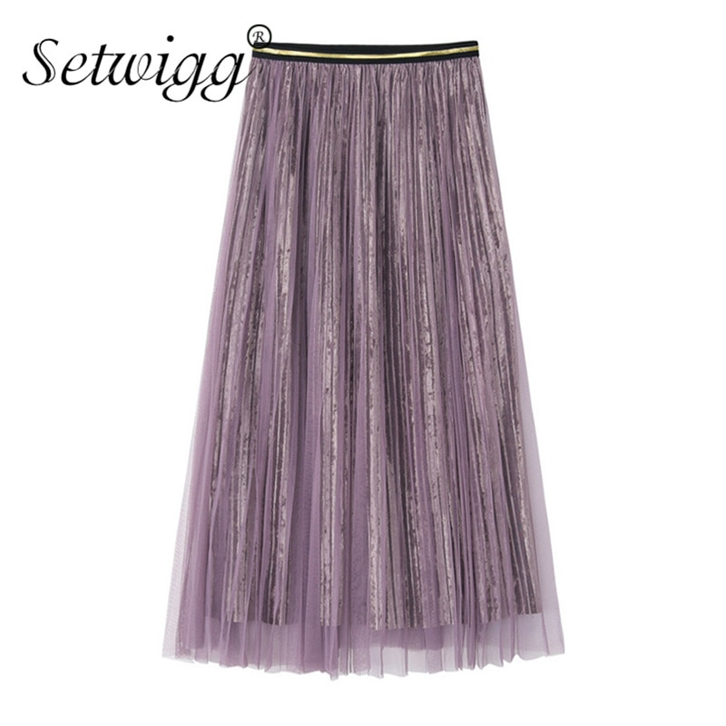 Autumn Female Velvet Tulle Pleated Long Skirt High Waisted Metallic Layered Mesh Pleuche Mid-calf Long Skirts Green Purple
