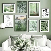 forest path venison green plant wall poster decorative canvas painting for living room bedroom dining room home decor
