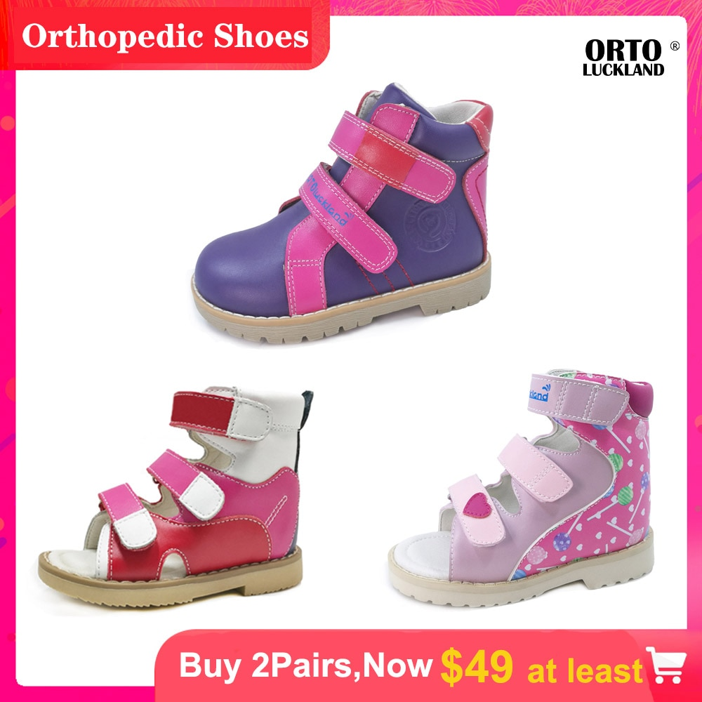 Ortoluckland Girls Fancy Casual Orthotic Shoes Kids Children Corrective Arch Support Ankle Flatfoot Sandals For Toddlers