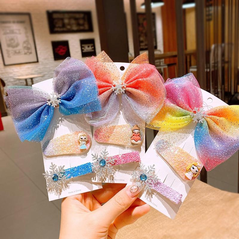 Fashion Disney Children's Makeup Toys Cartoon Bow Hairpin Cute Aisha Princess Hair Tie Anime Anna Hairpin Girls Birthday Gifts