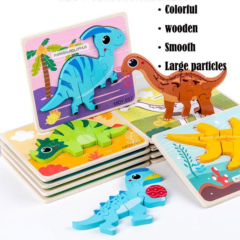 3D-пазлы-Динозавры, животные, строительные материалы Монтессори, обучающие игрушки для детей, маленькие кирпичи, Детские обучающие игрушки
