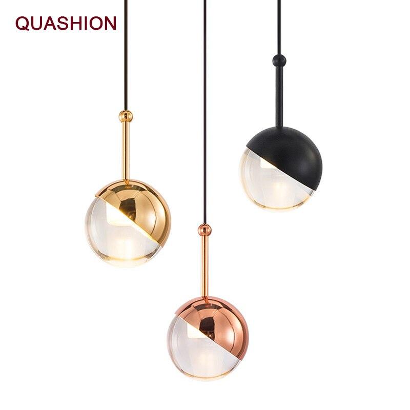 Bola colgante de luz nórdica de oro rosa, diseño personalizado, Loft, pasillo, Bar, sala de estar, lámparas de luz de suspensión