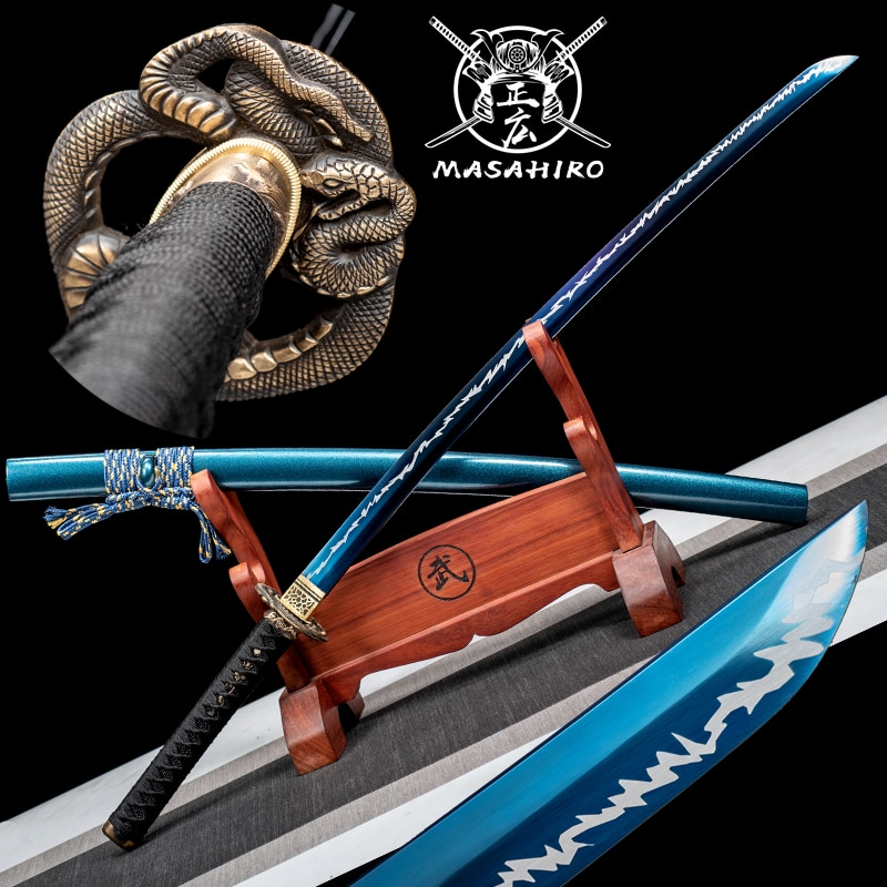 سيف ساموراي الياباني كاتانا حقيقية T10 الصلب مع الطلاء الأزرق والأبيض كامل تانغ الحلاقة شفرة حادة معركة جاهزة