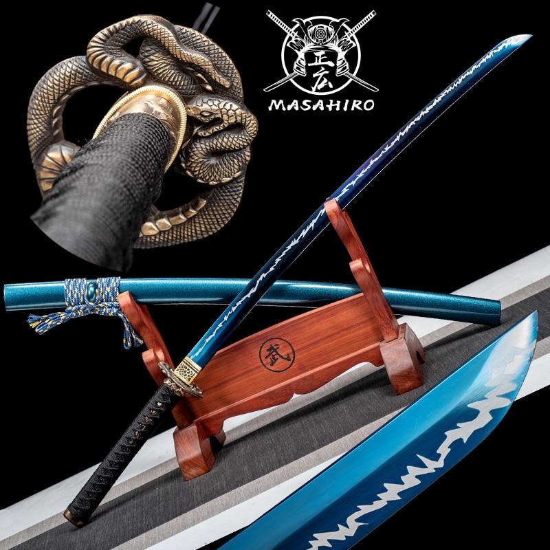 Japanese Samurai Sword Real KATANA T10 steel with plating blue and white Full Tang Razor sharp Blade Battle Ready
