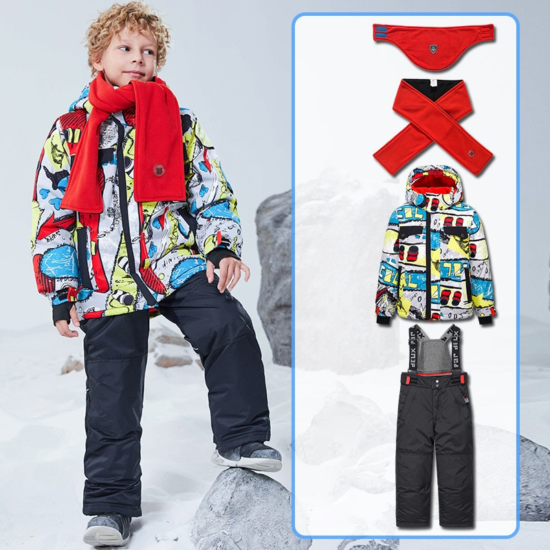 Winter Warm Boy Snow Suits Hooded Windproof Children Clothing Set Outdoor Sport Teenager Kids Ski Outfits Baby Tracksuit Clothes enlarge