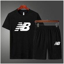 Спортивный костюм 2021NB, Мужская одежда для бега, тренажерный зал, летняя одежда из двух предметов, быстросохнущая одежда, повседневные шорты с коротким рукавом