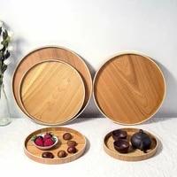 wooden round serving tray wood plate tea food dishe drink platter food server plate dinner beef steak fruit snack dessert tray