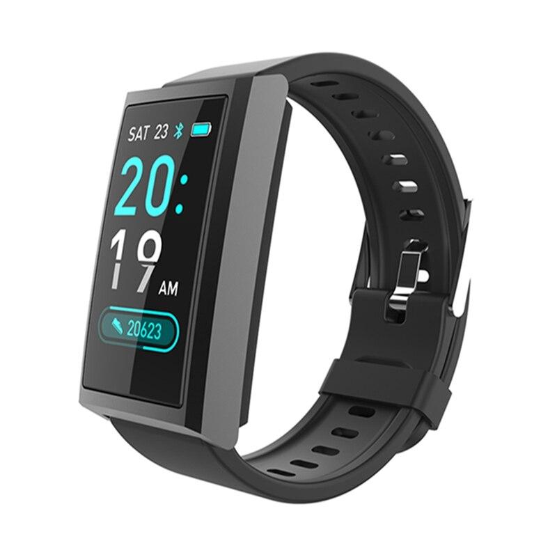 Monitor O2 de ritmo cardíaco Bakeey D5 en tiempo real, Monitor de presión arterial, modos multideportivos, clima, Control de música, banda inteligente con Pantalla dinámica