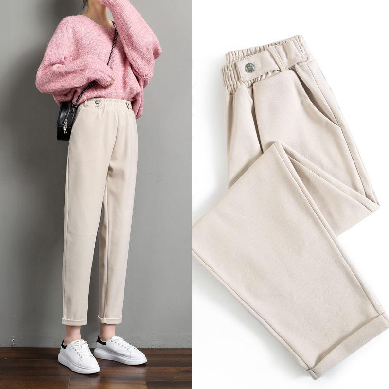 Женские шерстяные брюки, толстые зимние теплые однотонные брюки 2020, повседневные женские свободные брюки с высокой талией, женские брюки фо...