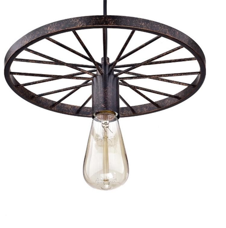 27 Ce certificado alambre colgante acabado oxidado E Led Bombilla colgante montaje para lámpara de hierro negro rueda Triple sombras para comedor en casa