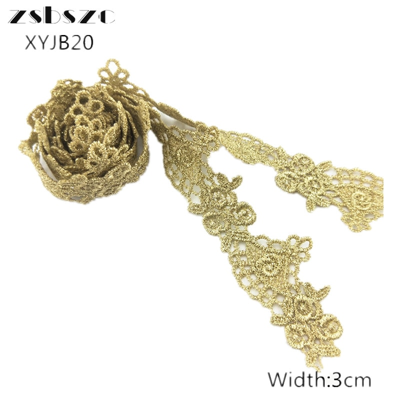 3CM Width 10Yards New Design Gold Lace  Ribbon Flower Embroidery Lace Fabric For Garment Sewing Accessories Applique Crafts