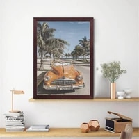 beach cuba landscape photography poster vintage car palm tree prints wall art canvas painting for living room home decor