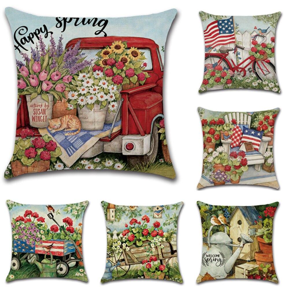 Новинка, весенний чехол hello с принтом в виде цветов и пейзажа, льняная Подушка для украшения дома на заказ, чехол для автомобильной подушки