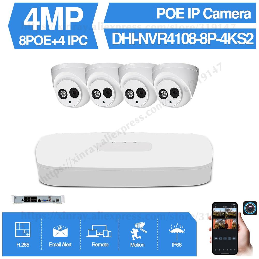 Dahua 4MP 8+4 Security Camera System 4MP IP Camera IPC-HDW4433C-A 8CH POE NVR4108-8P-4KS2 Surveillance P2P System Remote View dahua ip camera ipc hdw4433c a 4mp network ip camera onvif built in mic poe 4433c a 4431c a home security cctv h 265 ipc camera