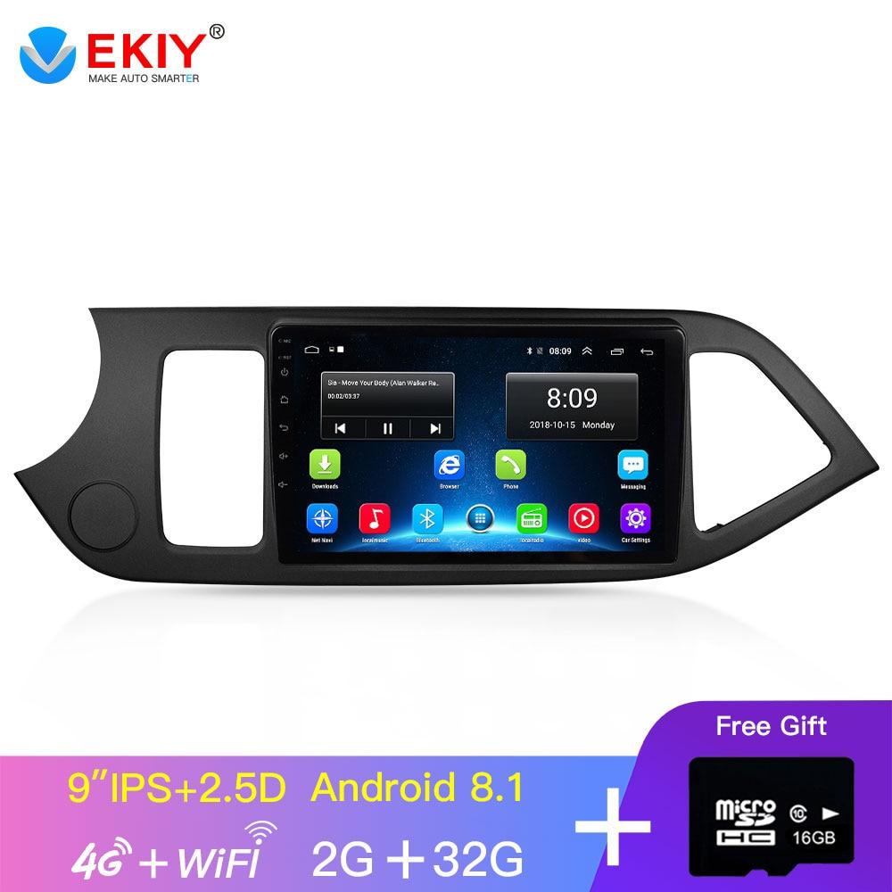 EKIY 9 IPS Android GPS DvD de coche reproductor Multimedia para 2011, 2012, 2013, 2014 KIA PICANTO Morning GPS unidad Wifi 4Core 2 Din