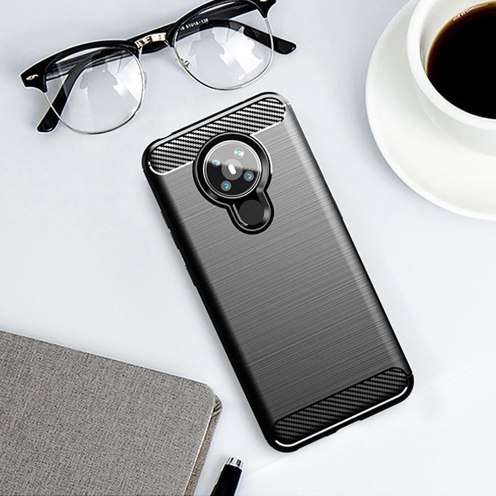 Para Nokia 5,3 Funda de silicona delgada antideslizante textura de carbono TPU Funda trasera para Nokia5.3 Funda de fibra suave a prueba de golpes A8F8