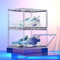 360 degree display without dead ends shoes box full transparent anti oxidant shoe collector storage box sports sneaker organizer