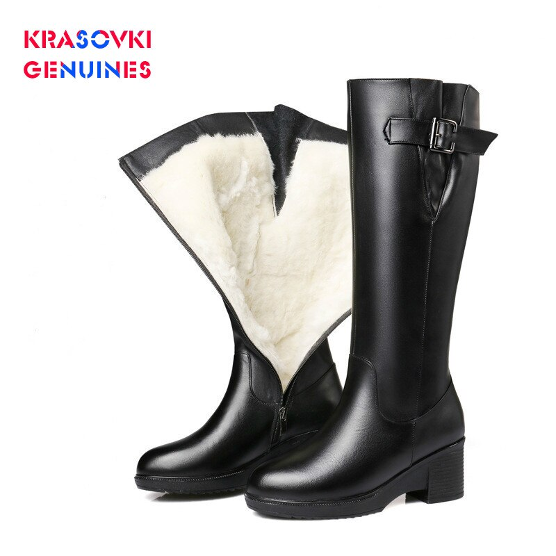 Krasovki Genuines Wool Women Snow Boots Warm Fur Warm Shoes Plush High Boots Platform for Women Genuine Leather Winter Boots