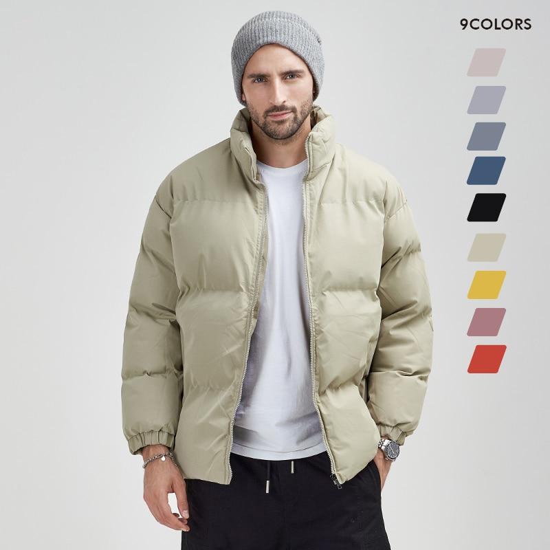 Парка мужская зимняя на молнии, теплая уличная одежда, универсальная парка в стиле Харадзюку, однотонная теплая куртка с воротником-стойкой