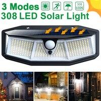 Настенная светодиодная уличная лампа на солнечной батарее, водонепроницаемый широкоугольный светильник с 3 режимами, PIR 308 для украшения са...