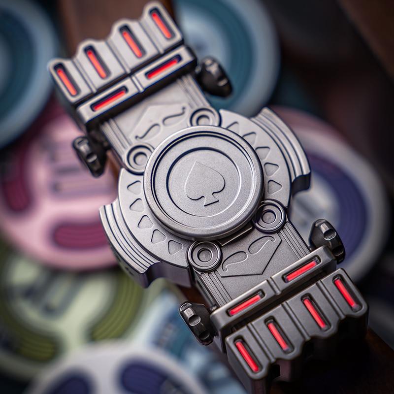 Mini Spades K Slider Magnetic Black Mirror Fingertip Spinning Top Adult Decompression Toy Out Of Print EDC enlarge