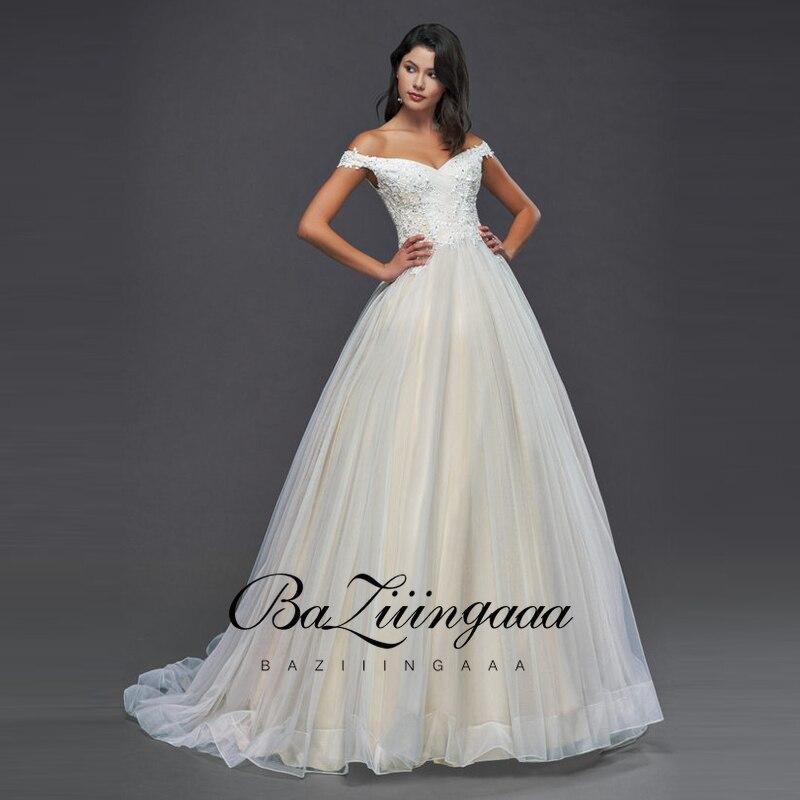 BAZIIINGAAA tissu de luxe pour robe de mariée dentelle épaules dénudées 100cm queue Design Appliques grande taille robe de mariée