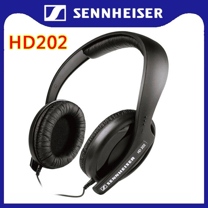 Sennheiser HD202 Headphones for Smartphones Music 3.5mm Wired Noise Isolation Stereo Deep Bass Earphone Sport Gaming Headset