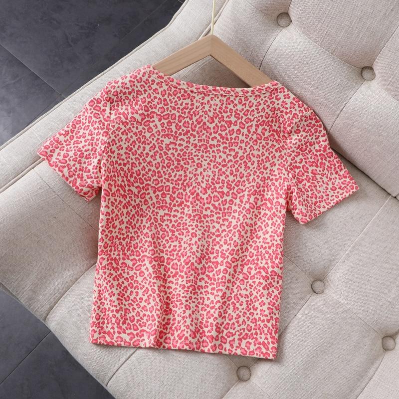 Slim girls vintage leopard short blouses 2020 summer fahsion ladies elegant bomb cotton shirts sexy female pink tops women chic