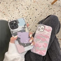 transparent graffiti camouflage leopard print soft phone case for iphone 12 pro max 12mini 11 pro max x xs xr 7 8 6s plus se 20