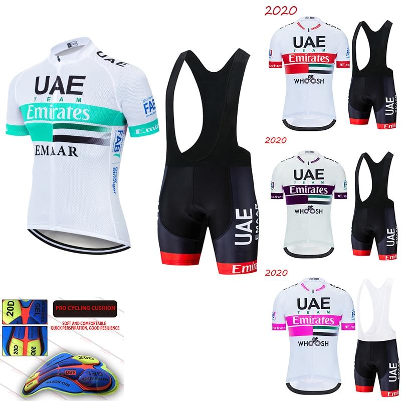 TEAM UAE-Camiseta de Ciclismo profesional para hombre, pantalones cortos de gel 20D,...