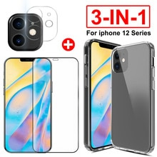 3pcs/set Clear Silicone TPU Case + Camera Lens Glass Film + Tempered Glass Screen Protector for Ipho