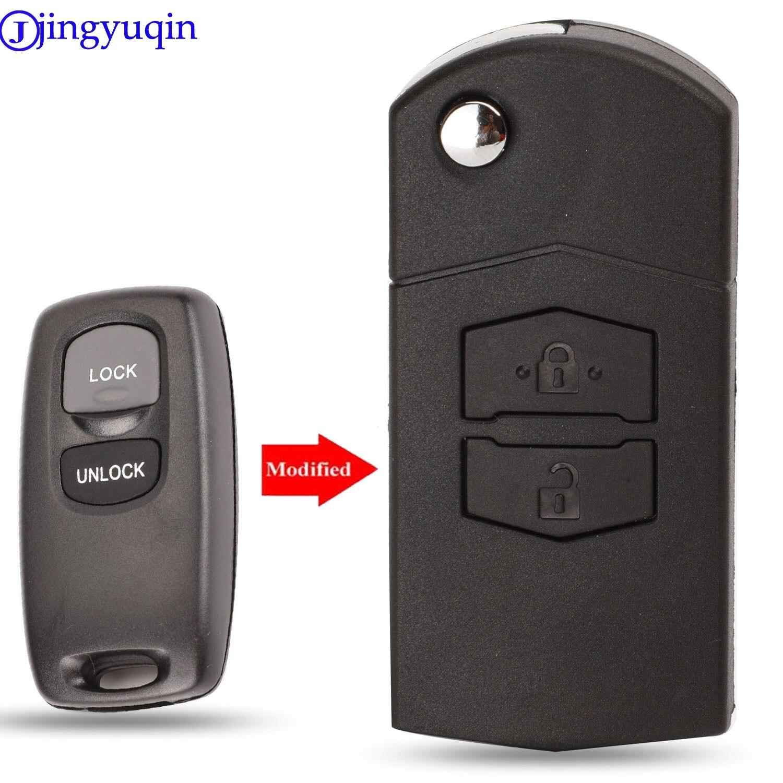 Jingyuqin modificado 2 botões flip dobrável carro remoto chave fob para mazda 3 5 6 mpv protege cx-5 caso capa sem corte lâmina