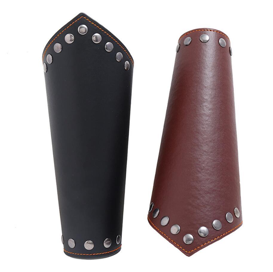 1 pc masculino medieval cosplay armadura de couro aquecedores de braço laço-up viking pirata cavaleiro gauntlet pulseira bracer acessórios steampunk