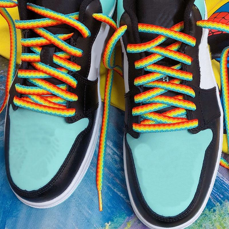1 par de laços coloridos arco-íris gradiente impressão plana lona sapatos de renda casual cromática cor cadarços 80 cm/100 cm/120/160 cm