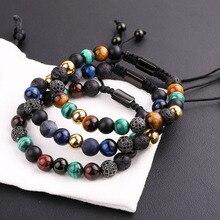 New Design Men Bracelet Natural Stone CZ Micro Pave Ball Friendship Macrame Adjustable Bacelet Men