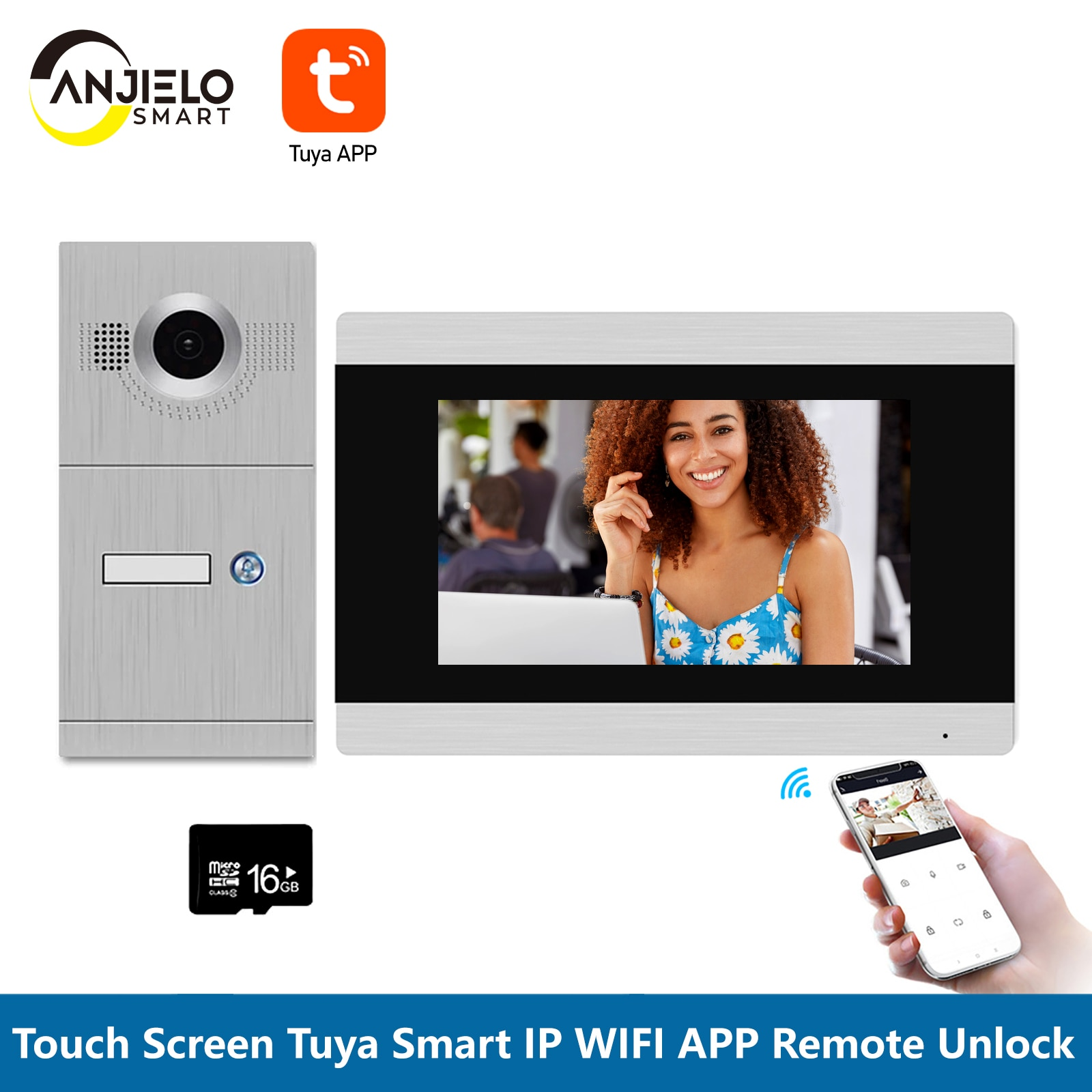wireless wifi ip box for video doorphone doorbell building intercom system control 3g 4g android iphone ipad app on smart phone 7 inch Tuya Smart Wifi IP Touch Screen WIFI Smart Video Door Phone Intercom System support iOS/Android APP Remote Control Unlock