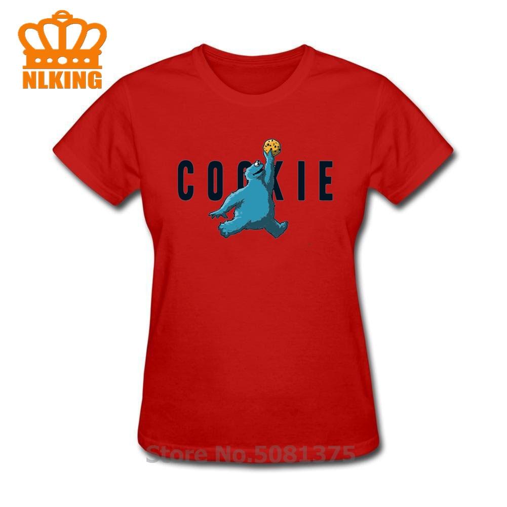 Novedosa Camiseta de manga corta con diseño de galletas de sésamo, camiseta negra divertida con diseño de monstruo para baloncesto, ropa de marca para mujer, camisetas de fitness con estampado de dunk para mujer