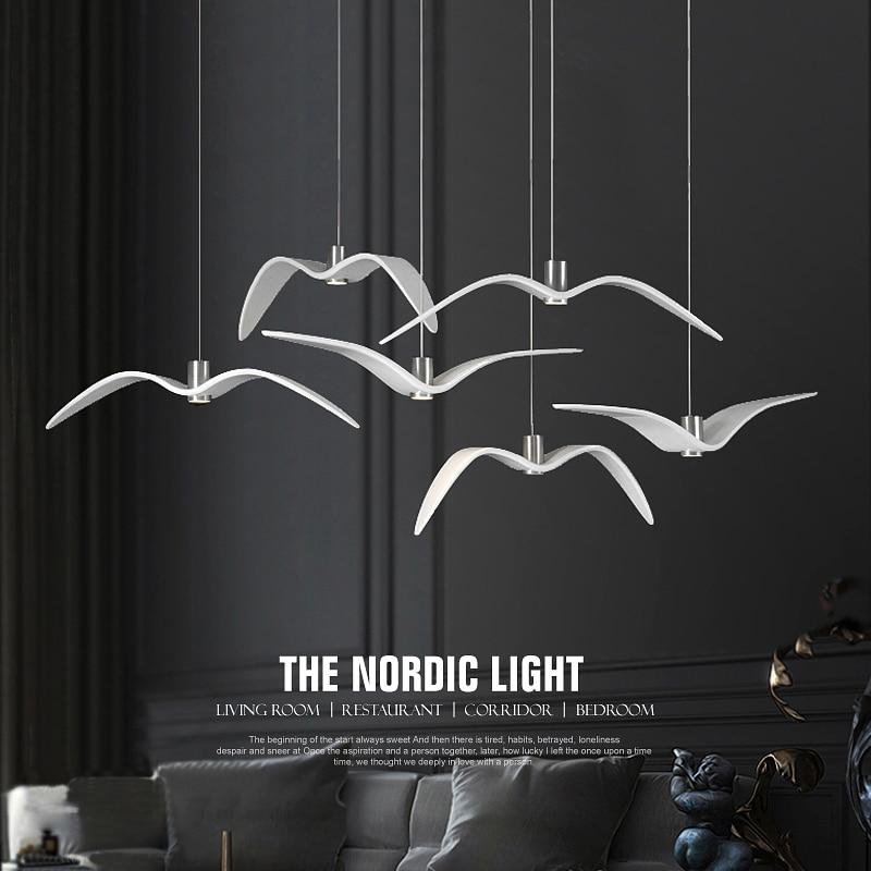 Nordic Novelty Design Resin LED Pendant Lamp Creative Bird Seagull Interior Pendant Lights for Living Room Hotel Cafe Home enlarge