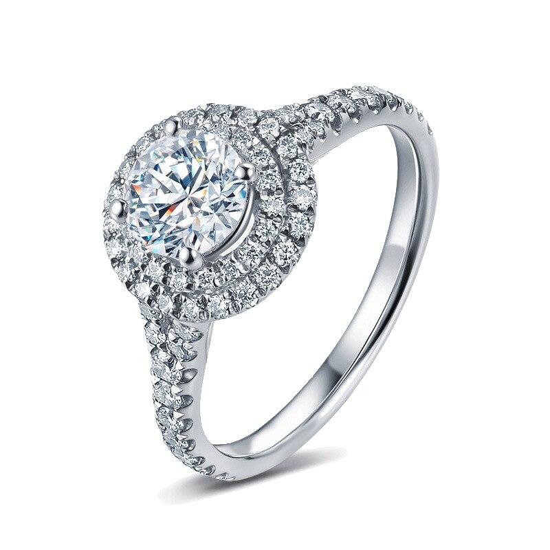 Real s925 prata esterlina 3 quilates fl anel de diamante para mulher fina anillos de bizuteria casamento prata 925 jóias anéis de diamante